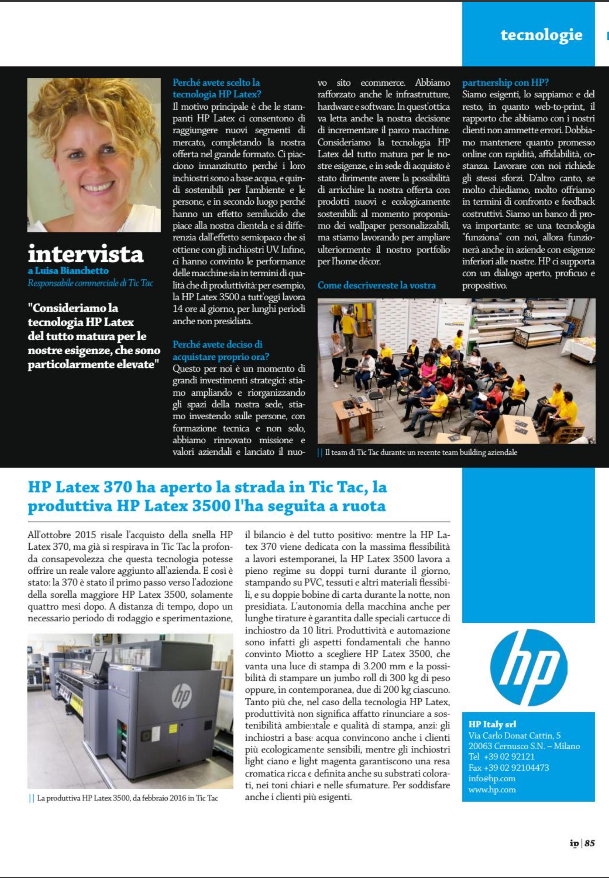 Ecologia e produttività: ecco come la tecnologia HP Latex ha convinto Tic Tac