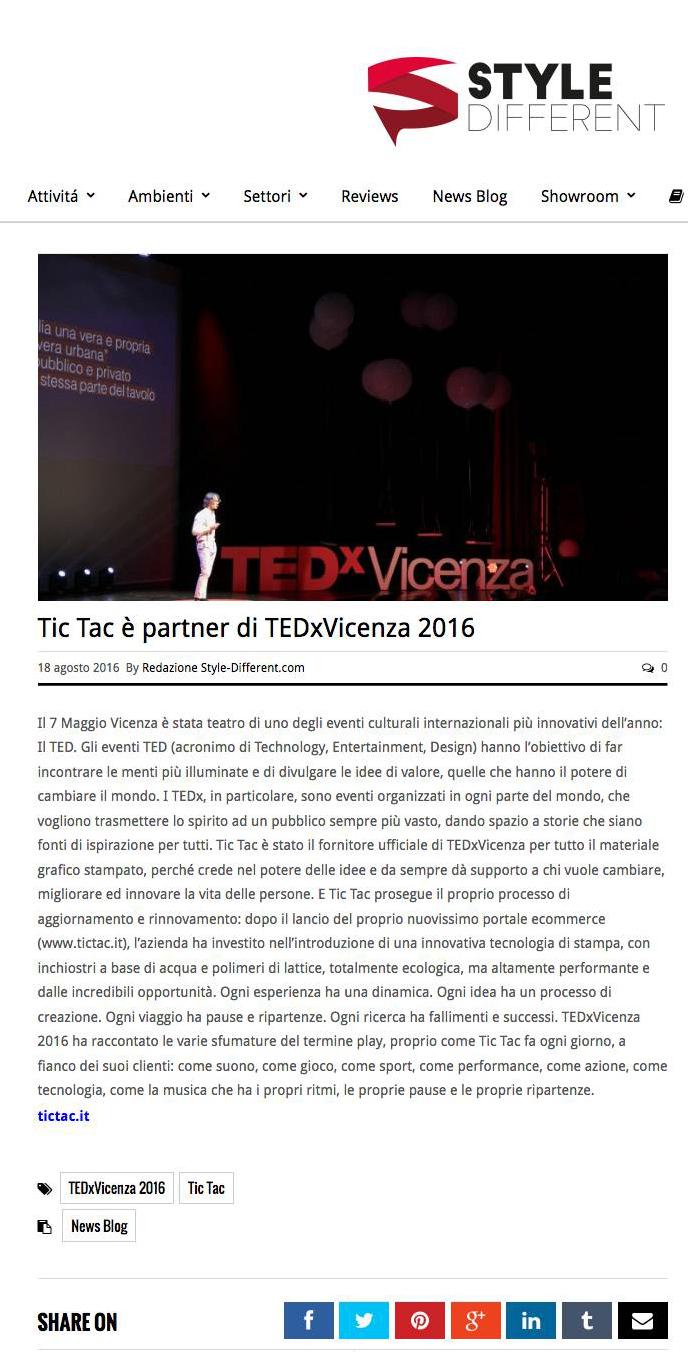 Tic Tac è partner di TEDxVicenza 2016